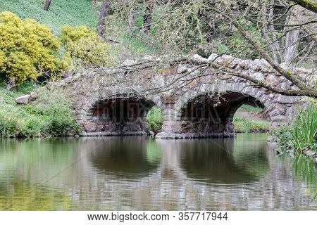 Stone Arch Bridge Over Stow Lake. Golden Gate Park, San Francisco, California, Usa.
