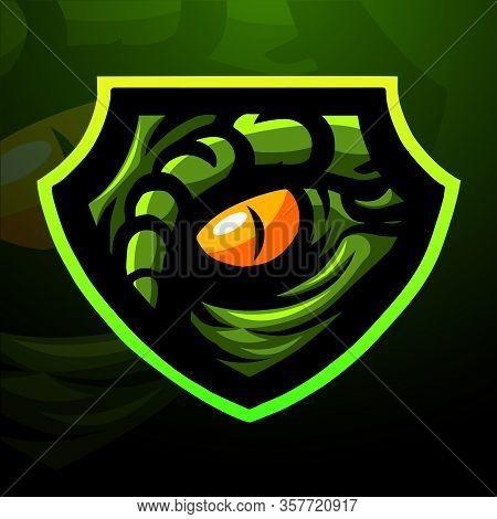 Vector Illustration Of Raptor Eye Mascot Logo Design