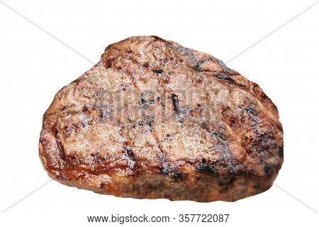 Hot Fresh Grilled Boneless Rib Eye Steak Isolated On White