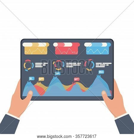 Statistical Data Presented In The Form Of Digital Graphs And Charts On The Tablet In The Hands Of A