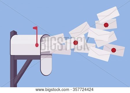 Mailbox Post Full Of Letters And Spam Information. Email Bombing, Sending Many Messages With Breakin