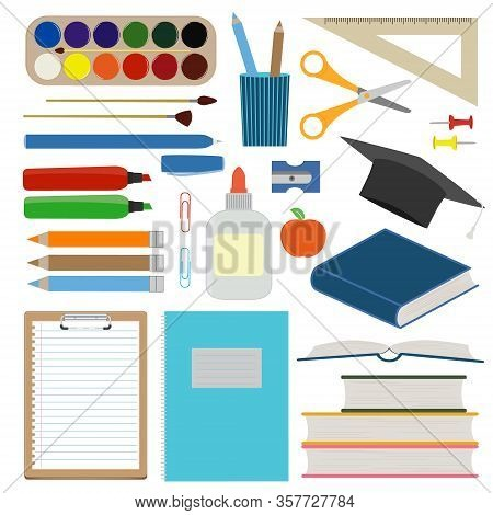 Large Set Of School Supplies. Back To School Vector Flat Illustration. Collection Of Stationery For