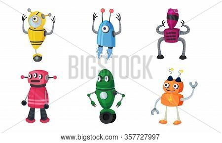 Funny Robots With Metallic Body And Limbs Moving Around Vector Set