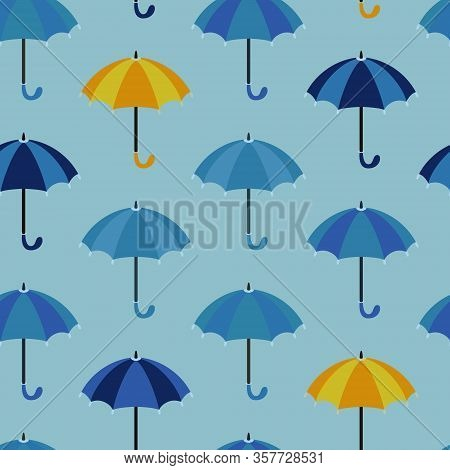 Seamless Pattern With Open Umbrellas. Rows Of Umbrellas In Shades Of Blue And Sometimes Yellow. Vect