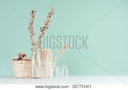 Cozy Rustic Home Decor - Beige Dry Flowers, Plants In Glass Bottles, Wicker Basket, Bunch Twigs On G