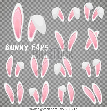 Easter Bunny Ears Stickers Collection. Set Of Masks Rabbit Ear On Transparent Background. Vector Ill