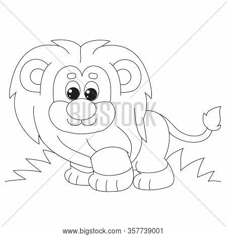 Cartoon Style Little Lion Cub With A Butterfly On Its Tail Drawn In Outline, Isolated Object On A Wh