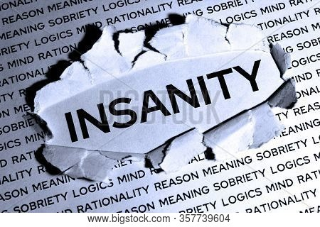 The Word Insanity In The Middle Of A Sheet Of Paper Is Released From Meaning.