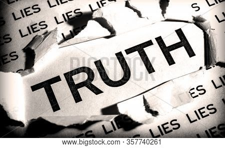 The Word Truth In The Middle Of A Sheet Of Paper Is Released From Lies.