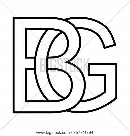Logo Sign Bg Gb Icon Sign Two Interlaced Letters B, G Vector Logo Bg, Gb First Capital Letters Patte