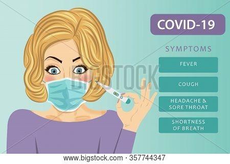 Young Woman With Medical Mask. Coronavirus Disease, Covid-19. Vector