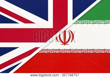 United Kingdom Of Great Britain And Ireland Vs Islamic Republic Of Iran Or Persia National Flag From