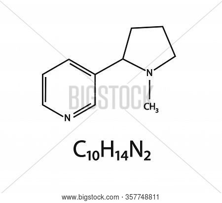The Chemical Formula Of Nicotine On A White Background. Vector Illustration.