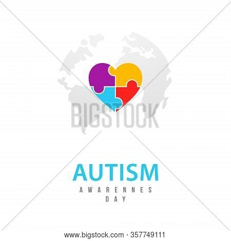World Autism Awareness Day. Vector Design Template With Symbol Of Autism. Emblem Made From Puzzle Pi