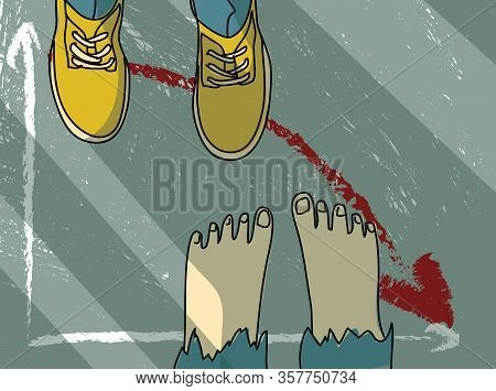 Footwear Barefoot Man Metaphor Economic Financial Crisis Business Ruin