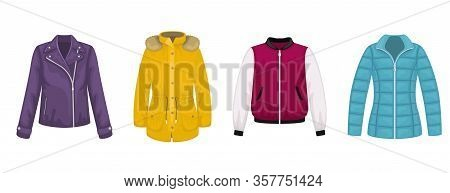 Set Of Flat Vector Women's Outerwear. Leather Jacket, Bomber Jacket, Parka, Jacket.