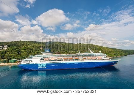 Ocho Rios, Jamaica - April 22, 2019: Cruise Ship Pullmantur Monarch Docked In The Tropical Caribbean