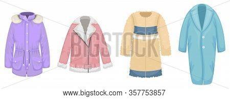 Set Of Flat Vector Women's Outerwear. Sheepskin Coat, Faux Fur Coat, Parka, Coat.