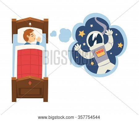 Cute Boy Sleeping In Bed And Dreaming About Astronaut In Flying In Outer Space, Kid Lying In Bed Hav
