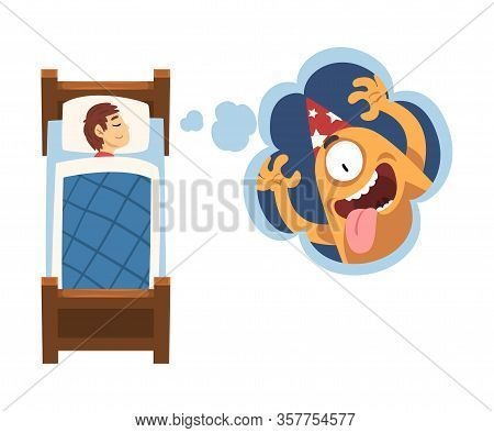 Cute Girl Sleeping In Bed And Dreaming About Cute Monster In Party Hat, Kid Lying In Bed Having Swee