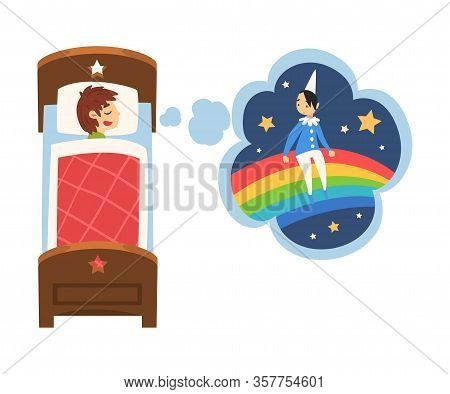 Cute Boy Sleeping In Bed And Dreaming About Boy Sitting On Rainbow, Kid Lying In Bed Having Sweet Dr