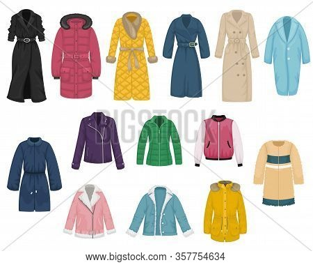 Set Of Flat Vector Women's Outerwear. Trench Coat, Raincoat, Overcoat, Quilted Coat, Bomber, Fur Coa