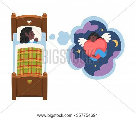 Cute Girl Sleeping In Bed And Dreaming About Angel With Red Heart In Starry Sky, Kid Lying In Bed Ha