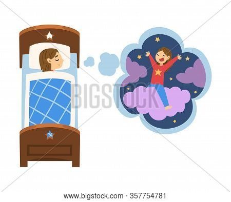 Cute Girl Sleeping In Bed And Dreaming About Girl Riding Cloud, Kid Lying In Bed Having Sweet Dreams