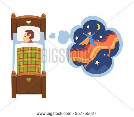 Cute Boy Sleeping In Bed And Dreaming About Superhero Boy Flying On Dragon In The Sky, Kid Lying In