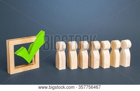 Queue Line And Green Vote Check Mark. Voting In Democratic Election Or Referendum. Political Campaig