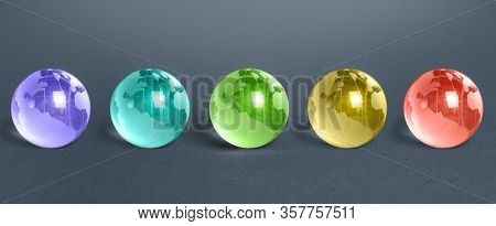 Five Multicolored Glass Globes Of Planet Earth. Globalization And Markets. Future Forecasts World De
