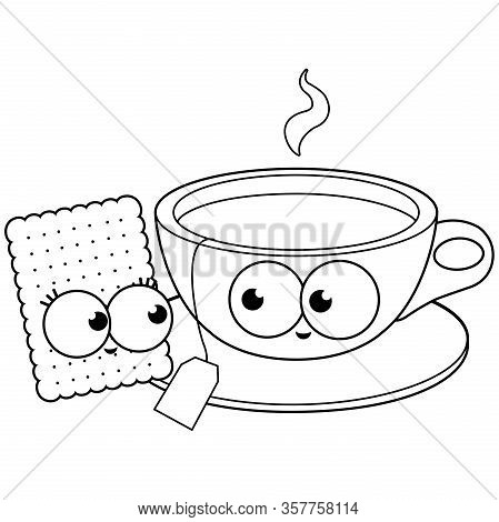 Tea And Cookie Characters. Vector Black And White Coloring Page.