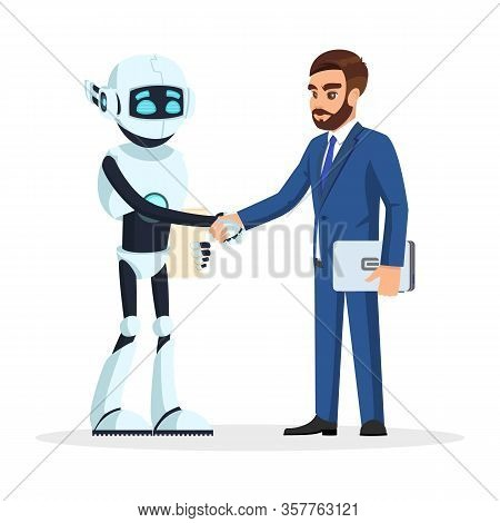 Humanoid Robot And Bearded Businessman In Formal Suit Shaking Hands. Artificial Intelligence Intervi