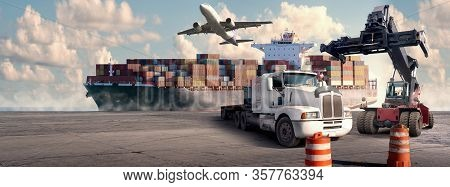 Logistic And Transport Concept In Front Industrial Container Cargo Freight Ship For Concept Of Fast