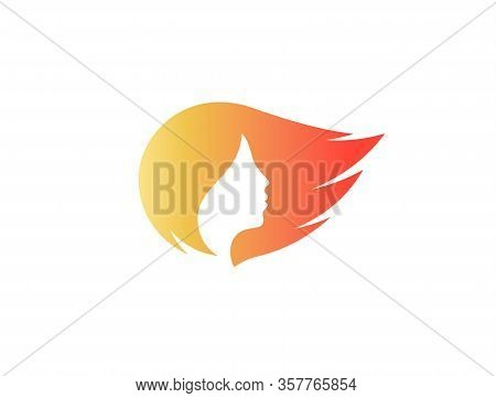 Womans Face Profile Silhouette Isolated Vecor Logo. Orange Streaming Hair Logotype. Hair Care Cosmet