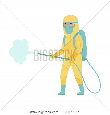 Man In Protective Suit And Mask Standing With Decontamination Equipment Disinfecting City Street Vec