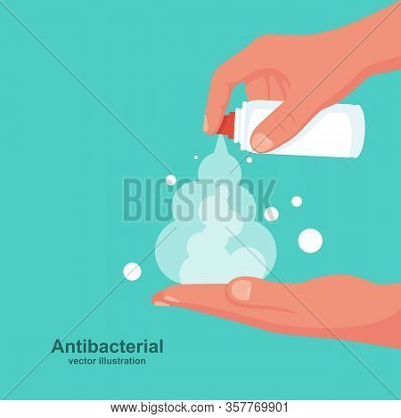 Man Wipes Hands With An Antibacterial Spray. Preventive Coronavirus Covid-19. Protection Against Bac