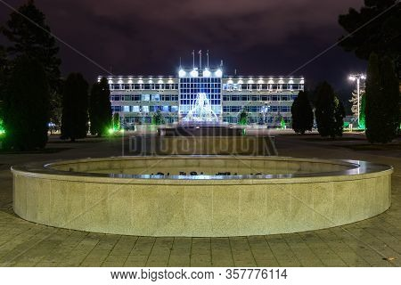 Anapa, Russia - February 28, 2020: Fountains Turned Off For The Winter In Front Of The Administratio