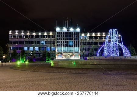 Anapa, Russia - February 28, 2020: View Of The Administration Of Anapa And The Winter Fountain In Fr