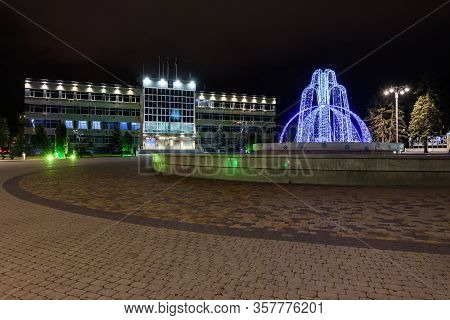Anapa, Russia - February 28, 2020: Winter Version Of The Fountain In The Square In Front Of The Admi