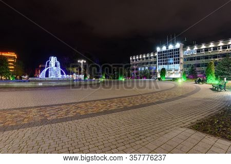 Anapa, Russia - February 28, 2020: Winter Square In Front Of The City Administration Building Of Ana