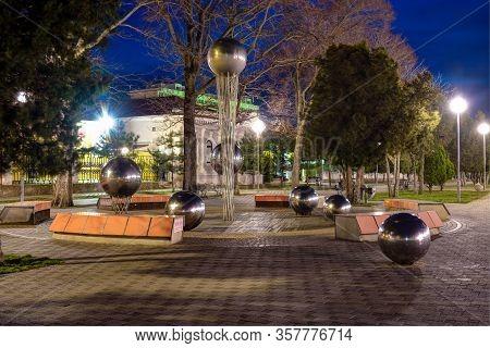 Anapa, Russia - March 3, 2020: Anapa Pearl Fountain, Installed On The Central Promenade Of Anapa, Vi
