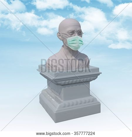 Mahatma Gandhi Sculpture With Surgeon Mask, 3d Illustration