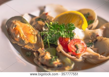 Clams Lombardi Thick Stock Clam With White Wine In A White Plate