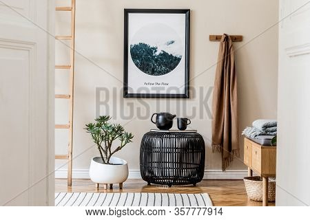 Modern Scandinavian Living Room Interior With Black Mock Up Poster Frame, Design Coffee Table And El