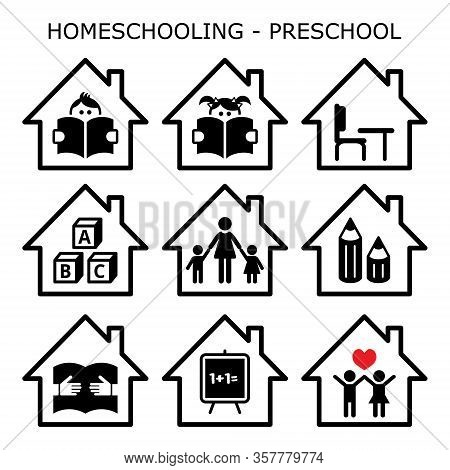 Homeschooling - Preschool Vector Icons Set, Home Early Education Design For Young Kids, Kindergarten