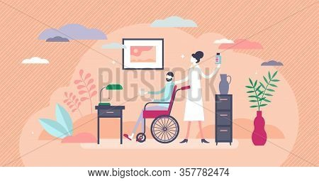 Nursing Home Vector Illustration. Elderly Support Home Lifestyle Tiny Persons Concept. Senior Patien