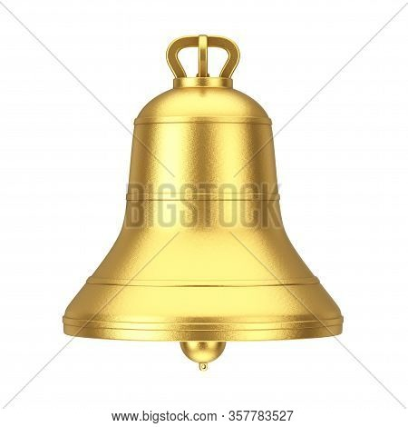 Ancient Monastery Golden Big Bell On A White Background. 3d Rendering