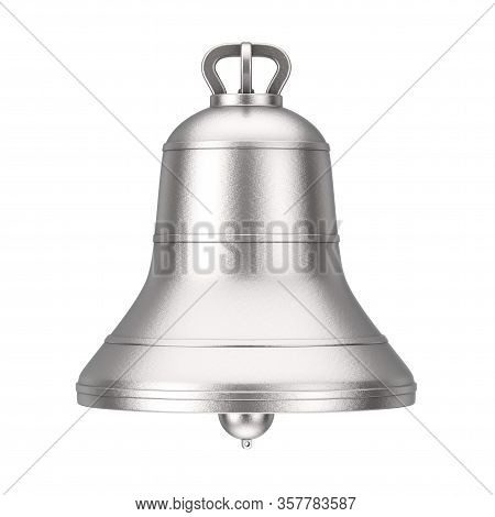 Ancient Monastery Silver Big Bell On A White Background. 3d Rendering