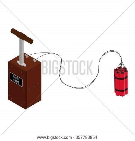 Detonator Box With Dynamite Sticks. Blasting Machine Isolated On White Background. Caution Explosive